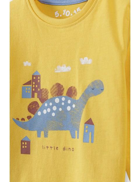 Bluzka niemowlęca bawełniana z dinozaurem - żółta