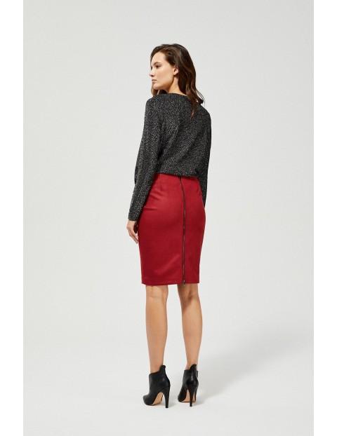 Ołowkowa spódnica z zamkiem - czerwona