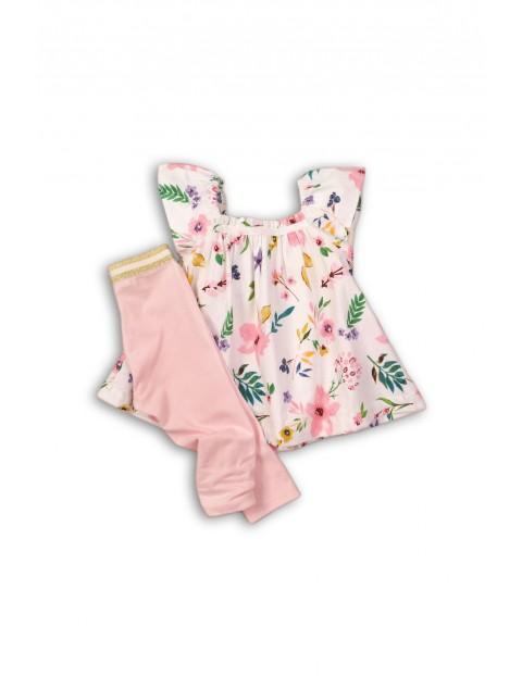 Komplet niemowlęcy tunika w kwiatki i legginsy różowe