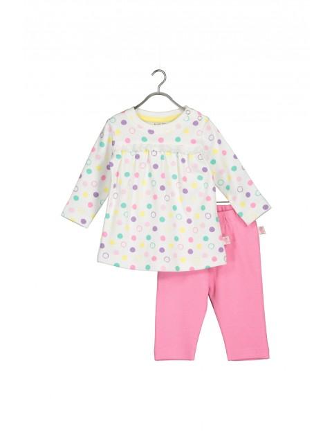 Komplet bawełniany dla niemowlaka- bluzka i leginsy