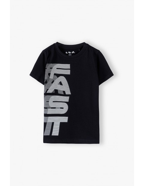 T-shirt chłopięcy bawełniany z nadrukiem - FAST