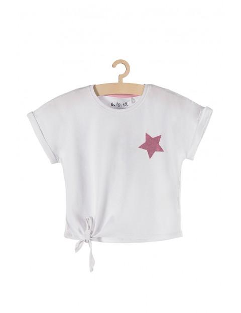 T-shirt dziewczęcy biały z różową cekinową gwiazdką