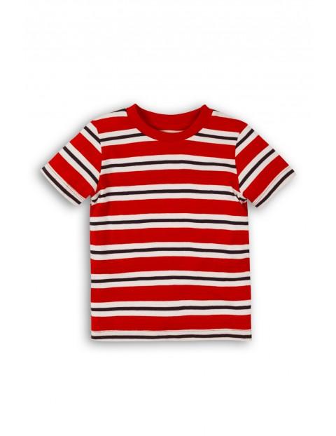 Koszulka bawełniana dla niemowlaka - czerwona w paski