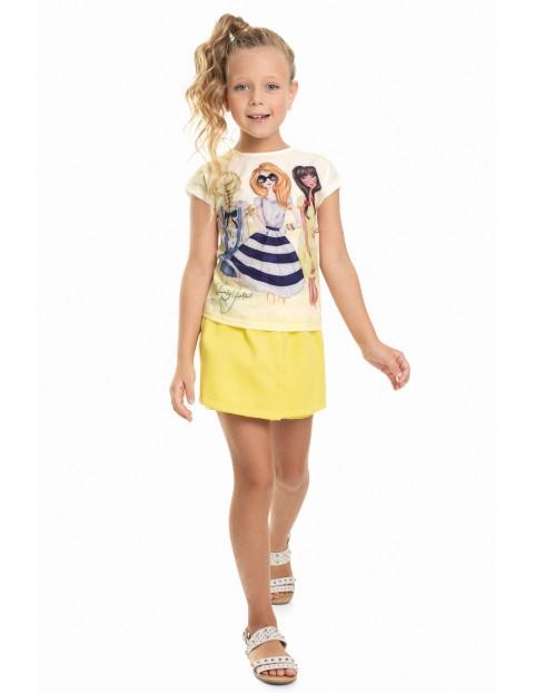 T-Shirt dziewczęcy żółty z nadrukiem laleczek
