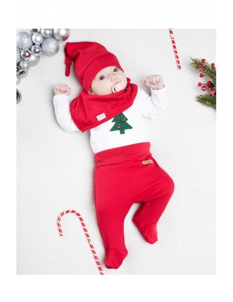 Komplet świąteczny niemowlęcy czapka, apaszka, body, półśpioch