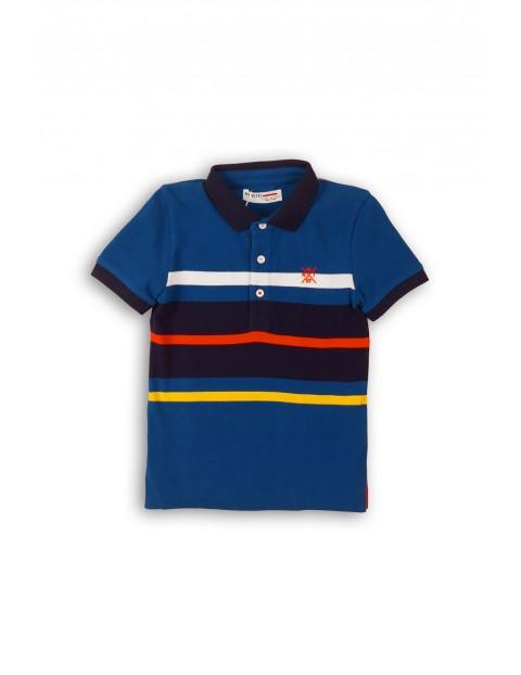T-shirt w paski z kołnierzykiem - granatowy w kolorowe paski