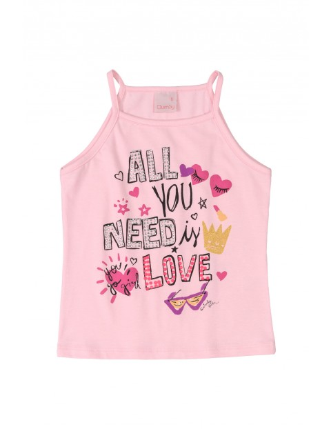 Koszulka dziewczęca różowa na ramiączka
