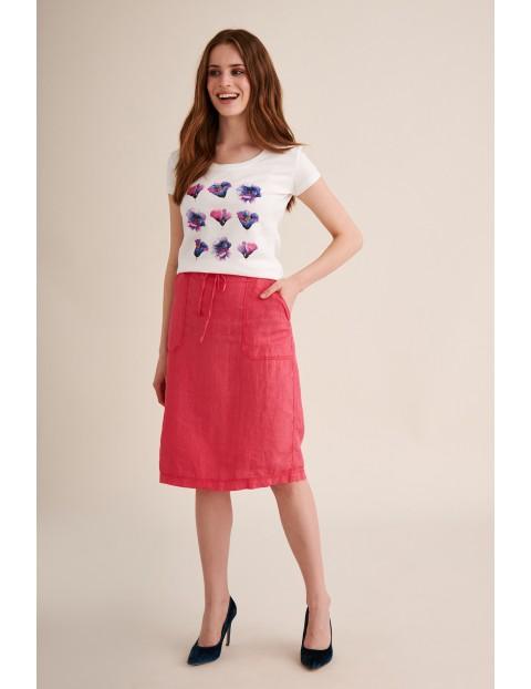 Lniana różowa spódnica na lato- midi