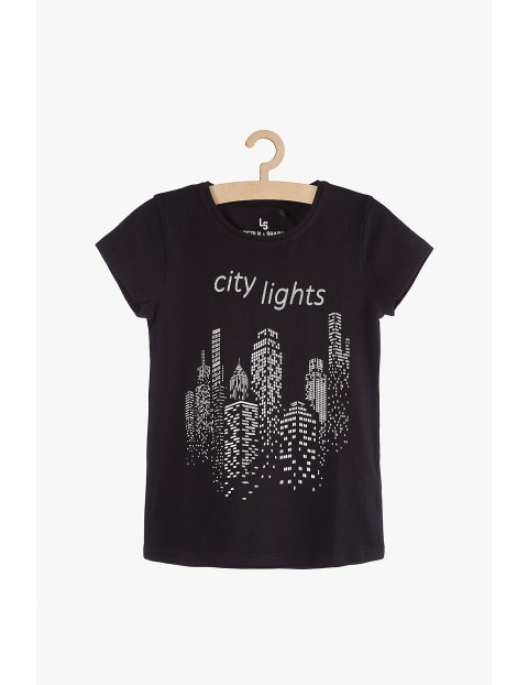 T-shirt dziewczęcy czarny z nadrukami City Lights