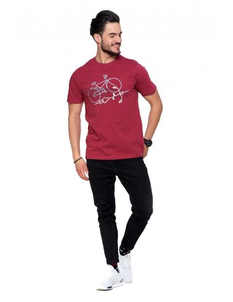 Bawełniany T-shirt męski bordowy- Peleton
