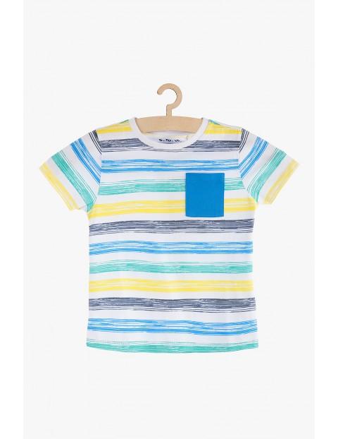 T-shirt chłopięcy na lato- bawełniany w paski