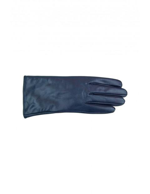 Rękawiczki damskie skórzane - granatowe
