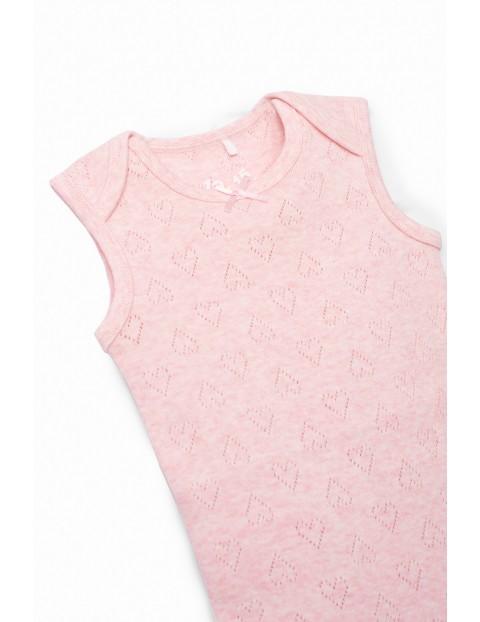 Body dziewczęce bez rękaw - różowe w ażurowe serduszka