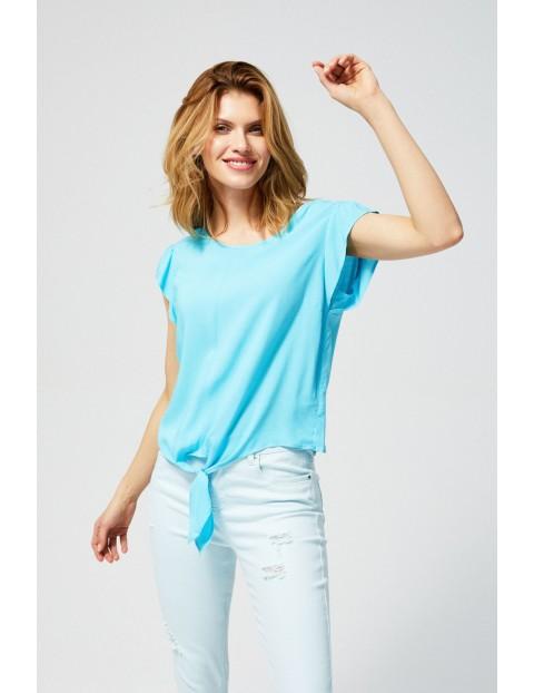 Bluzka damska koszulowa z ozdobnym wiązaniem turkusowa