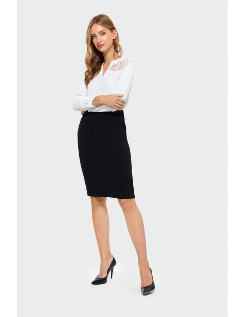 Elegancka bluzka - biała z koronkową górą
