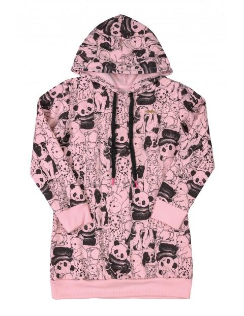 Tunika dresowa w zwierzaki - różowa
