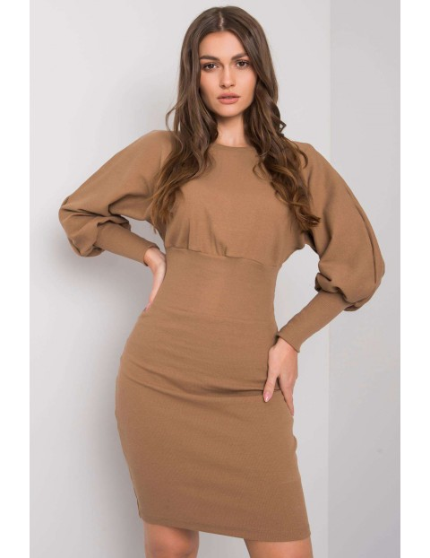 Sukienka damska brązowa w prążki