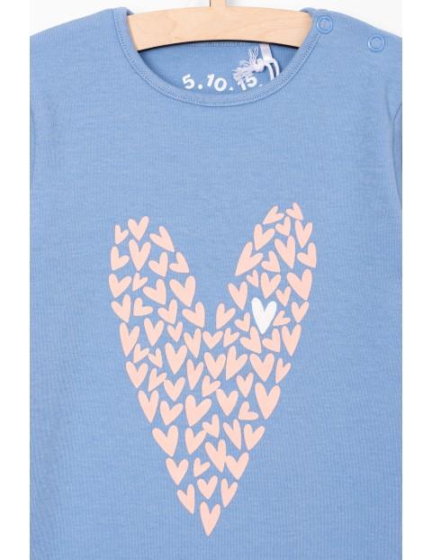 Body dla dziewczynki- niebieskie z serduszkiem