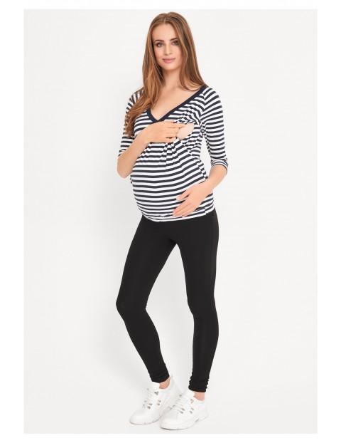 Bluzka ciążowa i dla karmiącej mamy- biało-granatowe paski