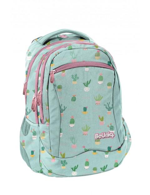 Plecak szkolny dla dziewczynki- niebieski w kaktusy