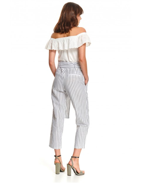 Białe spodnie damskie z wiązaniem z pasie