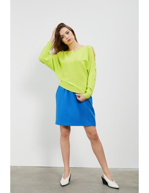 Limonkowy sweter damski z wiązaniem na rękawach