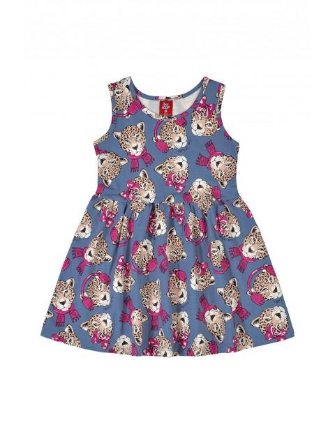 Sukienka dziewczęca w tygrysy- niebieska