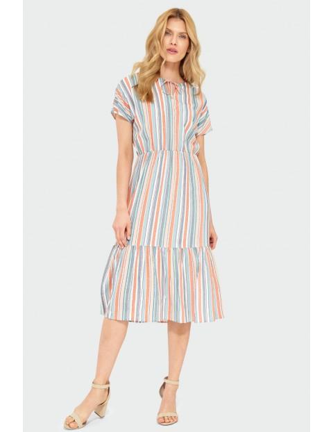 Wiskozowa sukienka w kolorowe paski