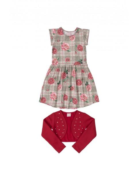 Komplet dziewczęcy- sukienka z nadrukiem i czerwone bolerko