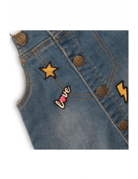 Sukienka niemowlęca jeansowa z naszywkami