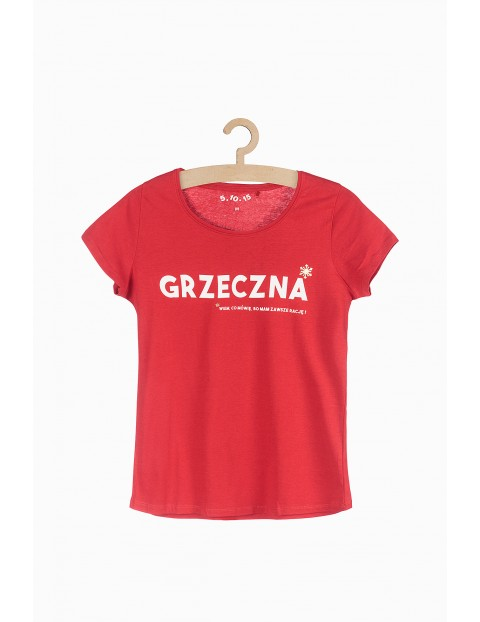 T-shirt damski z napisem Grzeczna