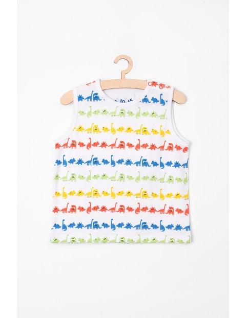 T-Shirt niemowlęcy biały w dinozaury