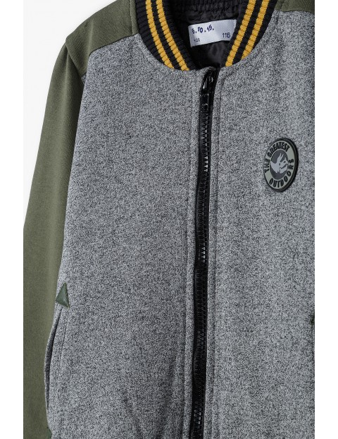 Bluza chłopięca typu bomber- szaro-zieliona