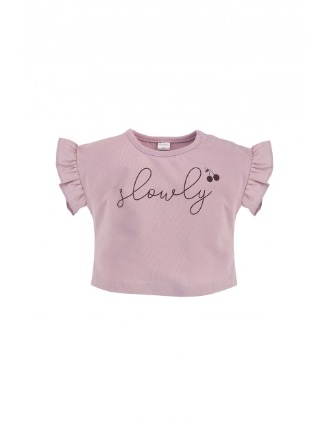 Dziewczęca bluzka typu oversize z miękkiej bawełny różowa