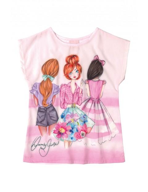 T-Shirt dziewczęcy różowy z nadrukiem laleczek