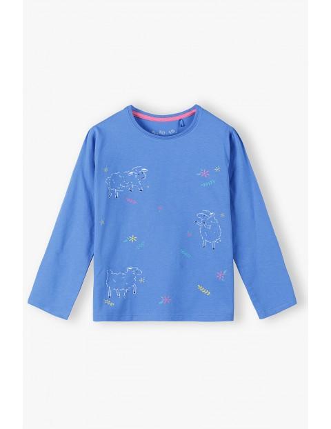 Bawełniana bluzka niebieska z owieczkami