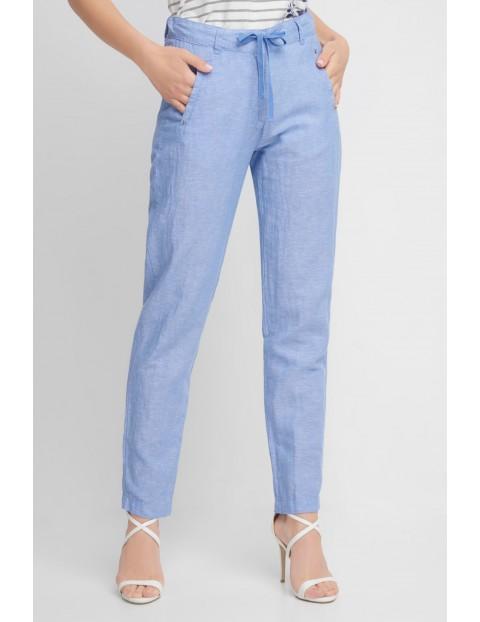 Niebieskie spodnie damskie z domieszką lnu