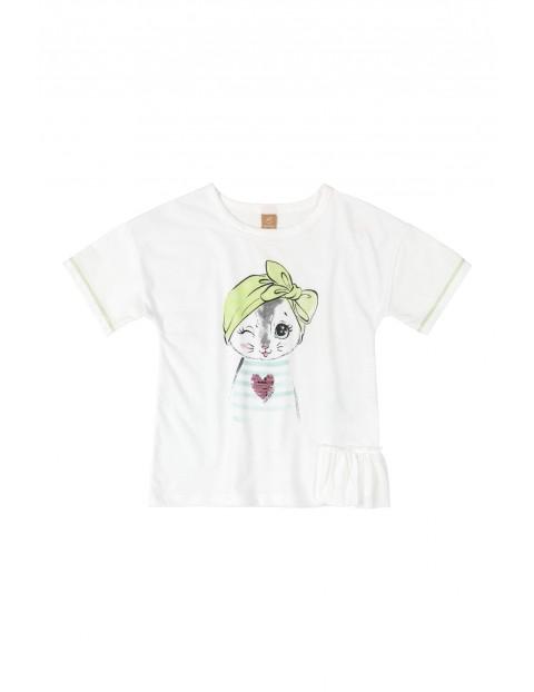 Koszulka dziecięca z kotkiem - biała