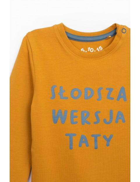 Żółte body z długim rękawem z polskim napisem- Słodsza wersja taty