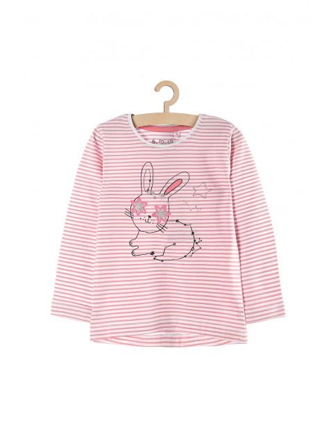 Bluzka dziewczęca w różowo-białe paski z króliczkiem
