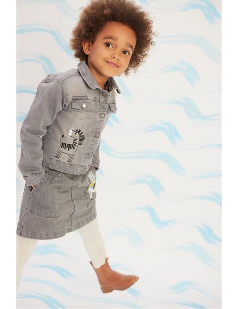 Kurtka jeansowa dla dziewczynki szara z zebrą