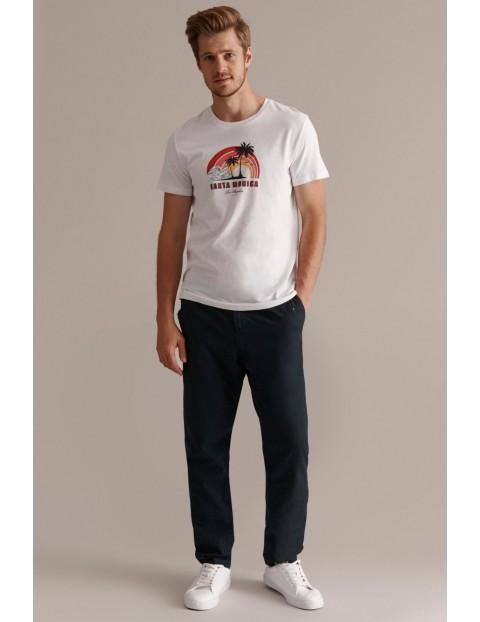 Bawełniany t-shirt męski z palmami - biały