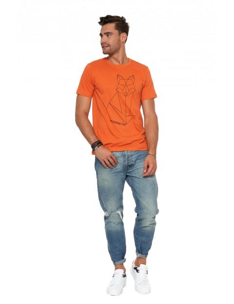 T-shirt bawełniany o regularnym kroju- pomarańczowy z lisem