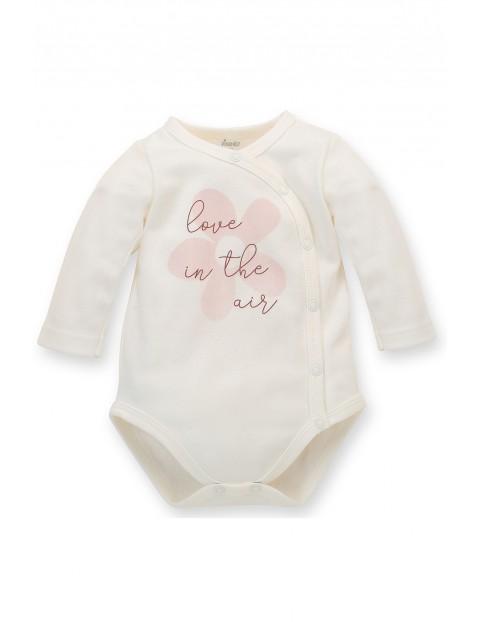 Body niemowlęce kopertowe z długim rękawem ecru