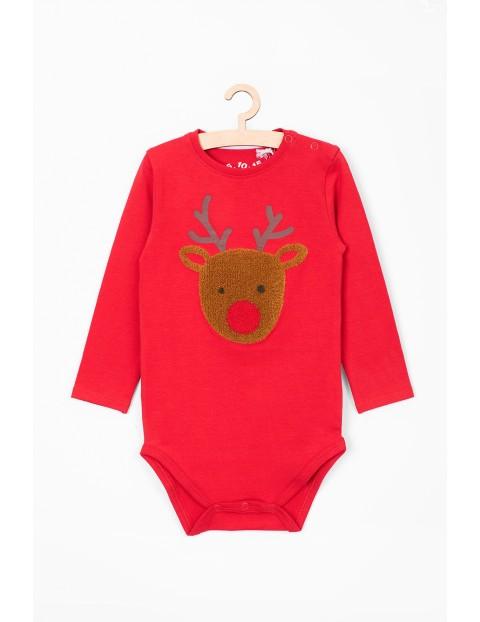 Świąteczne body dla niemowlaka- czerwone z reniferem