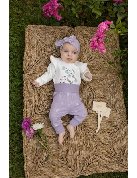 Fioletowe legginsy dla dziewczynki w nadruk uroczych kwiatów My Garden