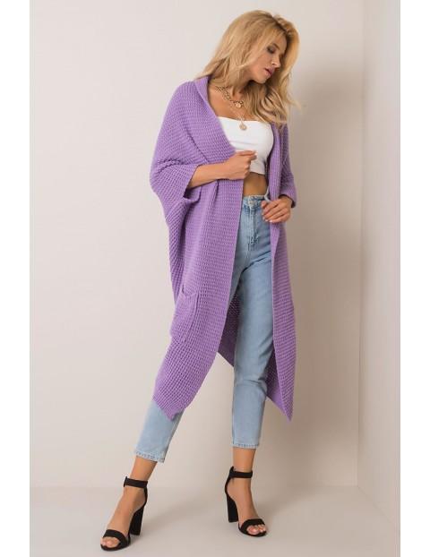 Liliowy długi sweter damski z kieszeniami