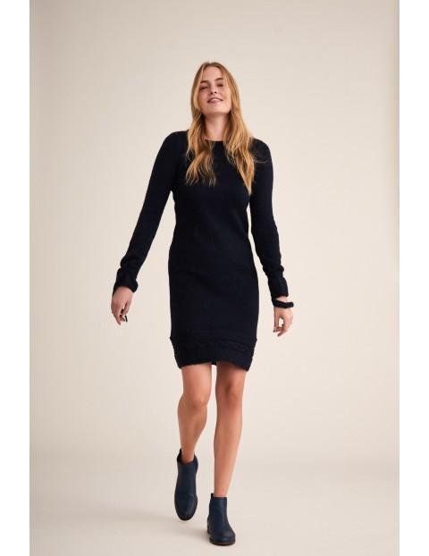 Sukienka damska Mola z wiązaniem przy rękawach - granatowa