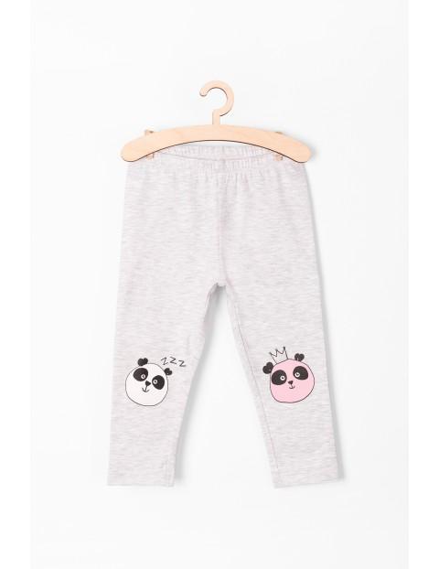 Leginsy dla dziewczynki- szare z pandą