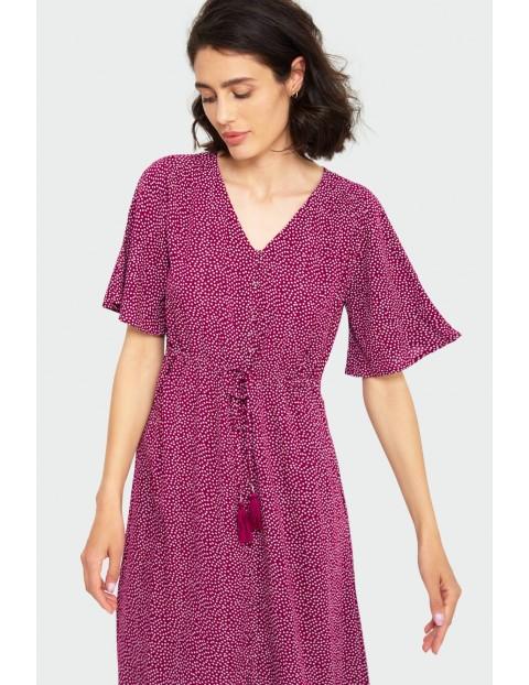 Wiskozowa fioletowa sukienka damska w groszki